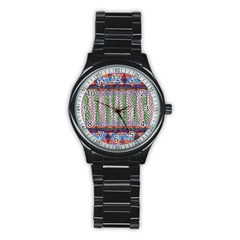 Nature Pattern Background Wallpaper Of Leaves And Flowers Abstract Style Stainless Steel Round Watch