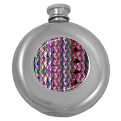 Textured Design Background Pink Wallpaper Of Textured Pattern In Pink Hues Round Hip Flask (5 oz)