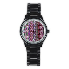 Textured Design Background Pink Wallpaper Of Textured Pattern In Pink Hues Stainless Steel Round Watch