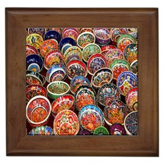 Colorful Oriental Bowls On Local Market In Turkey Framed Tiles