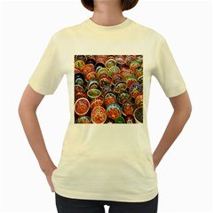 Colorful Oriental Bowls On Local Market In Turkey Women s Yellow T Shirt