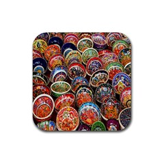 Colorful Oriental Bowls On Local Market In Turkey Rubber Square Coaster (4 Pack)