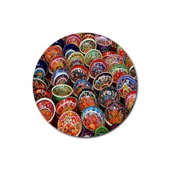 Colorful Oriental Bowls On Local Market In Turkey Rubber Round Coaster (4 Pack)