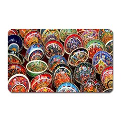 Colorful Oriental Bowls On Local Market In Turkey Magnet (rectangular)