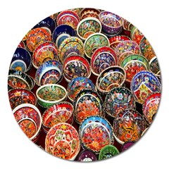 Colorful Oriental Bowls On Local Market In Turkey Magnet 5  (round)