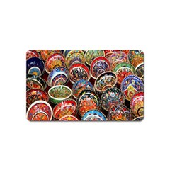 Colorful Oriental Bowls On Local Market In Turkey Magnet (Name Card)