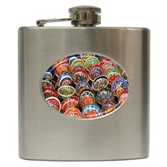 Colorful Oriental Bowls On Local Market In Turkey Hip Flask (6 Oz)