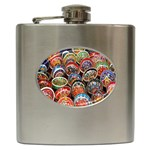 Colorful Oriental Bowls On Local Market In Turkey Hip Flask (6 oz) Front
