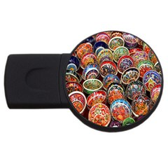 Colorful Oriental Bowls On Local Market In Turkey Usb Flash Drive Round (2 Gb)