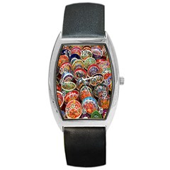 Colorful Oriental Bowls On Local Market In Turkey Barrel Style Metal Watch