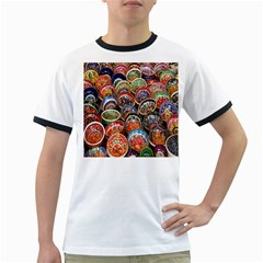 Colorful Oriental Bowls On Local Market In Turkey Ringer T-Shirts