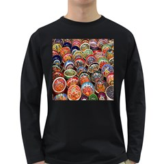 Colorful Oriental Bowls On Local Market In Turkey Long Sleeve Dark T Shirts