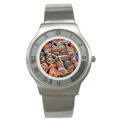 Colorful Oriental Bowls On Local Market In Turkey Stainless Steel Watch