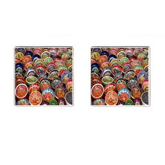 Colorful Oriental Bowls On Local Market In Turkey Cufflinks (square)