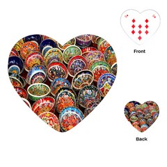 Colorful Oriental Bowls On Local Market In Turkey Playing Cards (Heart)