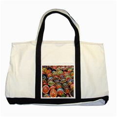 Colorful Oriental Bowls On Local Market In Turkey Two Tone Tote Bag