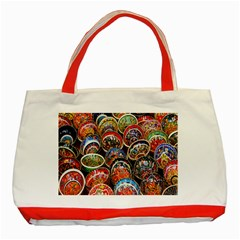 Colorful Oriental Bowls On Local Market In Turkey Classic Tote Bag (red)