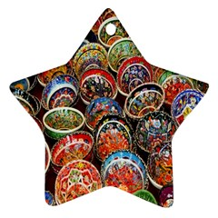 Colorful Oriental Bowls On Local Market In Turkey Star Ornament (two Sides)