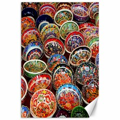 Colorful Oriental Bowls On Local Market In Turkey Canvas 24  X 36