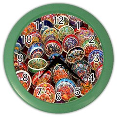 Colorful Oriental Bowls On Local Market In Turkey Color Wall Clocks