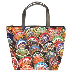 Colorful Oriental Bowls On Local Market In Turkey Bucket Bags