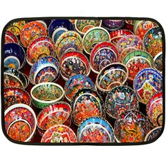 Colorful Oriental Bowls On Local Market In Turkey Fleece Blanket (Mini)