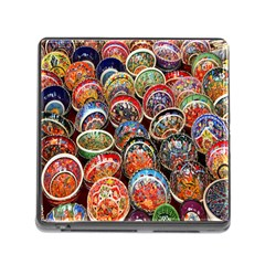 Colorful Oriental Bowls On Local Market In Turkey Memory Card Reader (Square)