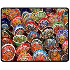 Colorful Oriental Bowls On Local Market In Turkey Fleece Blanket (Medium)
