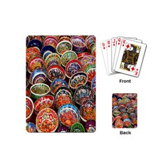 Colorful Oriental Bowls On Local Market In Turkey Playing Cards (Mini)