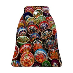 Colorful Oriental Bowls On Local Market In Turkey Bell Ornament (Two Sides)
