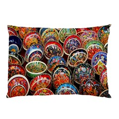 Colorful Oriental Bowls On Local Market In Turkey Pillow Case (Two Sides)