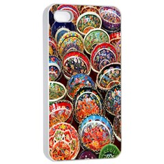 Colorful Oriental Bowls On Local Market In Turkey Apple Iphone 4/4s Seamless Case (white)