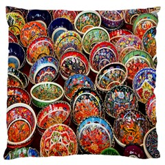 Colorful Oriental Bowls On Local Market In Turkey Large Cushion Case (one Side)