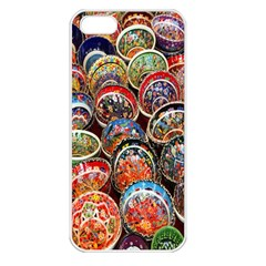 Colorful Oriental Bowls On Local Market In Turkey Apple Iphone 5 Seamless Case (white)
