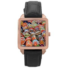 Colorful Oriental Bowls On Local Market In Turkey Rose Gold Leather Watch
