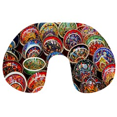 Colorful Oriental Bowls On Local Market In Turkey Travel Neck Pillows