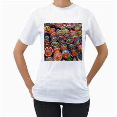 Colorful Oriental Bowls On Local Market In Turkey Women s T Shirt (white)