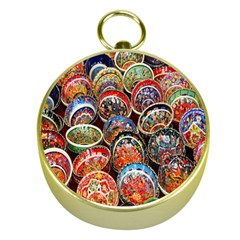 Colorful Oriental Bowls On Local Market In Turkey Gold Compasses