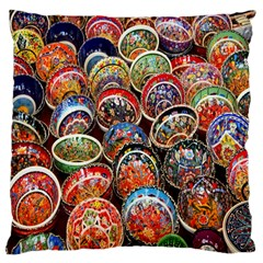 Colorful Oriental Bowls On Local Market In Turkey Large Flano Cushion Case (one Side)