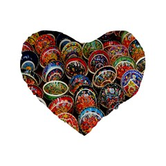 Colorful Oriental Bowls On Local Market In Turkey Standard 16  Premium Flano Heart Shape Cushions
