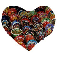Colorful Oriental Bowls On Local Market In Turkey Large 19  Premium Flano Heart Shape Cushions