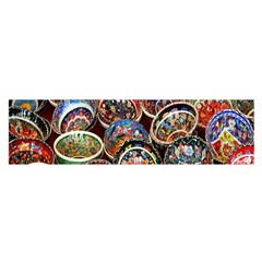 Colorful Oriental Bowls On Local Market In Turkey Satin Scarf (Oblong)