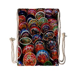 Colorful Oriental Bowls On Local Market In Turkey Drawstring Bag (Small)
