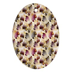 Random Leaves Pattern Background Oval Ornament (two Sides)