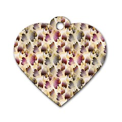 Random Leaves Pattern Background Dog Tag Heart (One Side)