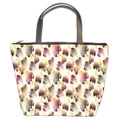 Random Leaves Pattern Background Bucket Bags