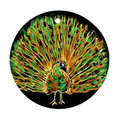Unusual Peacock Drawn With Flame Lines Ornament (round)
