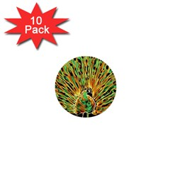 Unusual Peacock Drawn With Flame Lines 1  Mini Buttons (10 pack)