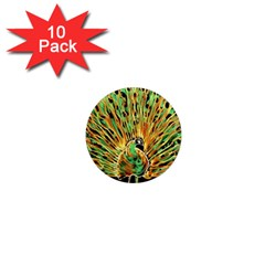 Unusual Peacock Drawn With Flame Lines 1  Mini Magnet (10 pack)