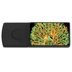 Unusual Peacock Drawn With Flame Lines USB Flash Drive Rectangular (2 GB)
